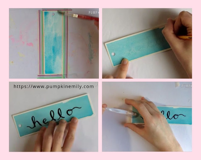 making a quote watercolor bookmark