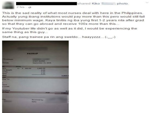 Payslip Showing Daily Salary of A Registered Nurse Angers Netizens