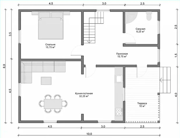 Convenient plan of a residential country house
