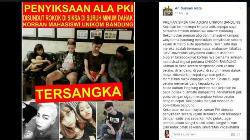 Mahasiswi Unikom di Bandung disiksa sekelompok orang