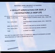 NOTICE TO ALL STUDENTS- E-WALLET VERIFICATION FOR 2020_2 EXAMINATION