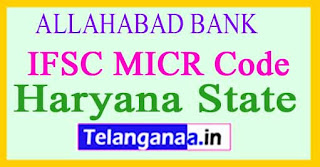 ALLAHABAD BANK IFSC MICR Code Haryana State