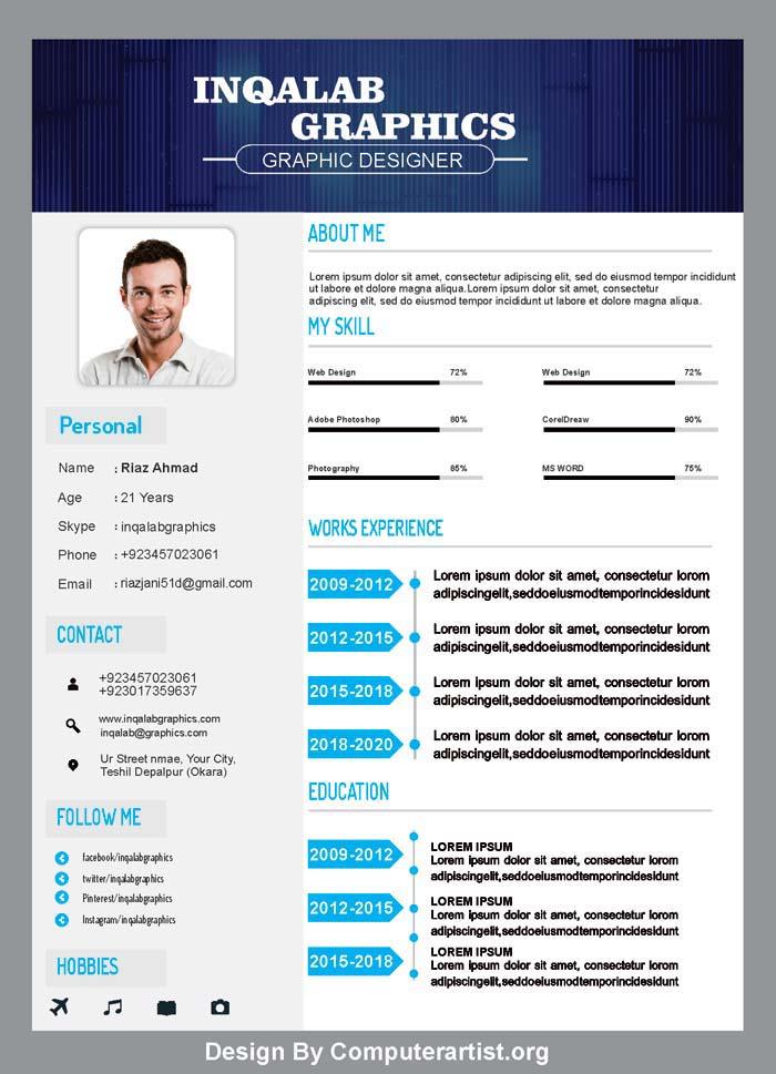 Template Cv Coreldraw : template, coreldraw, Resume, Template,, Vector, Design, Download, Computer, Artist