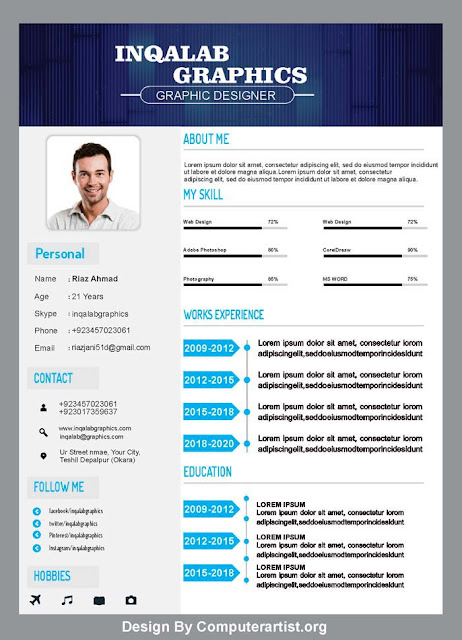 Cv Resume Template Free Vector Art Design Psd And Cdr File Free