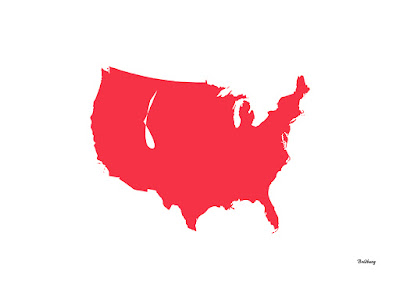 Red Bird in Flight Maps USA the United States of America