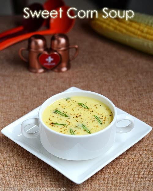 Easy sweet corn soup recipe (Sweet corn soup) - Raks Kitchen