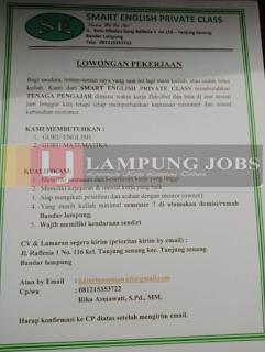 Lowongan Kerja Lampung 2018 di SMART ENGLISH PRIVATE CLASS Juli 2018