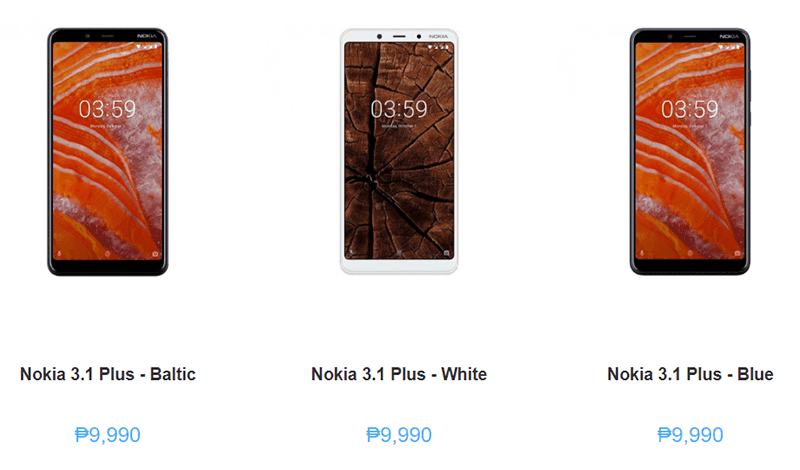 Nokia 3.1 Plus in baltic, white, and blue color options