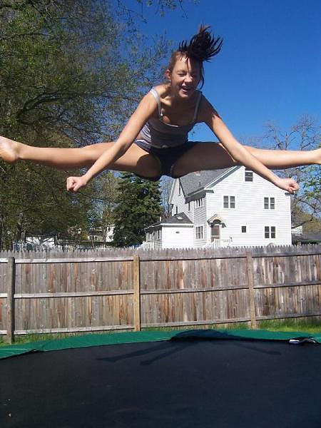 Naked on a trampoline