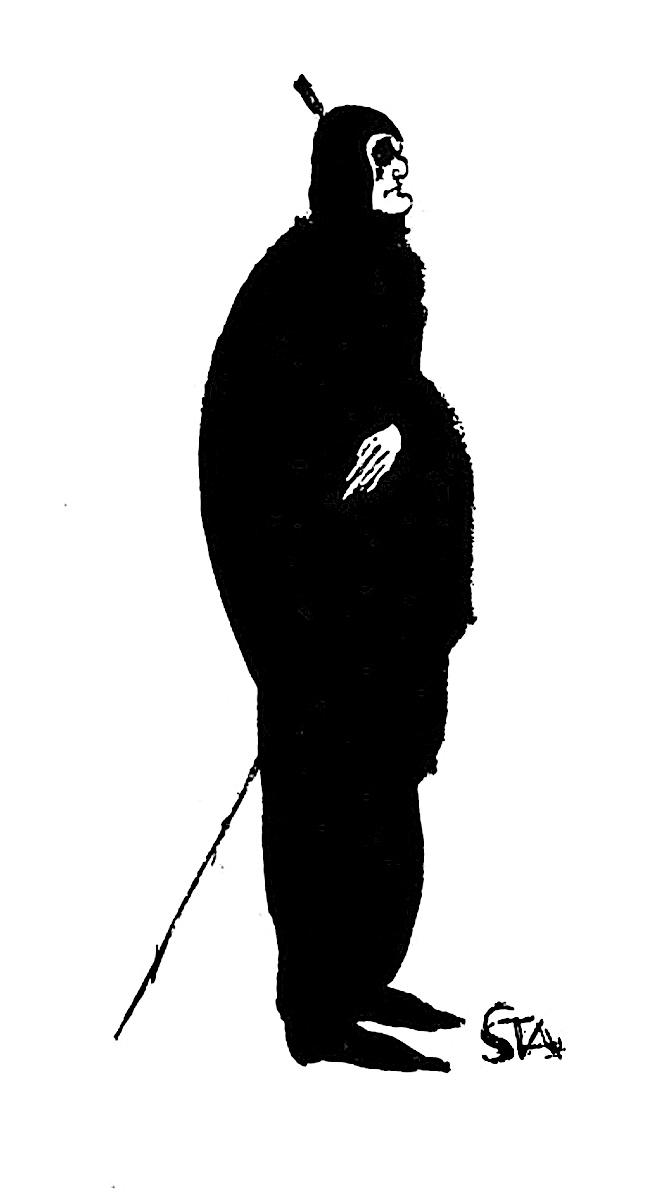 an Arthur Stadler 1921 drawing of a strange man in an odd costume
