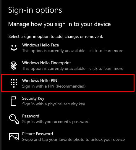 Windows - Windows Hello PIN