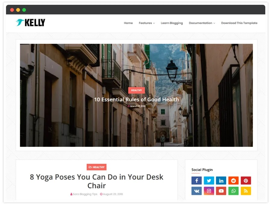 Kelly Blogger Template { New Blogger Templates 2020 }