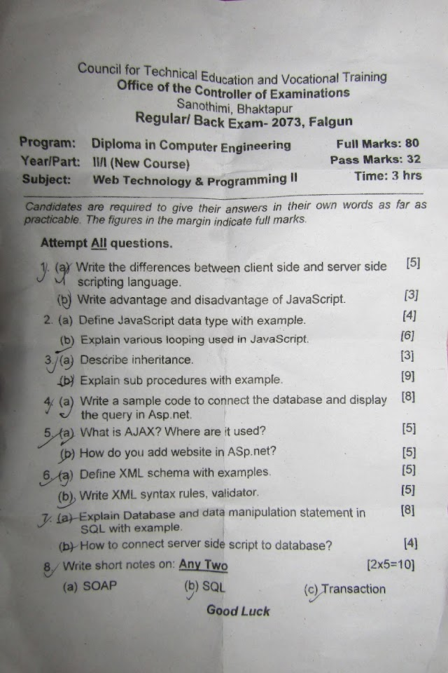 CTEVT | Web Technology & Programming II | Question Paper 2073 | Diploma | 2nd Year/1st Part