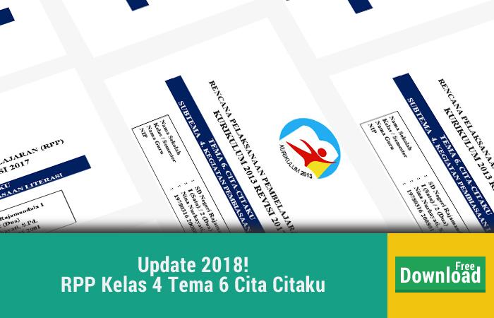 Update Rabu 24 Januari 2018 RPP Kelas 4 Tema 6 Cita Citaku