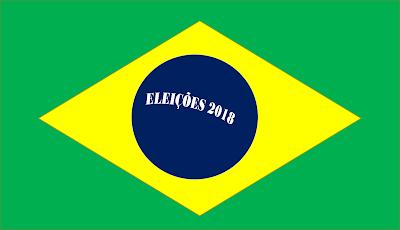 A imagem mostra a bandeira do Brasil e centro a frase: eleições 2018.