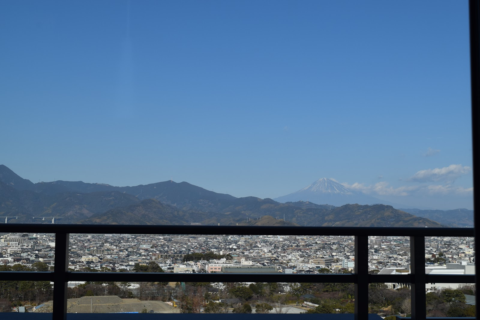 The view of Shizuoka city and Mt Fuji from my friend's apartment building