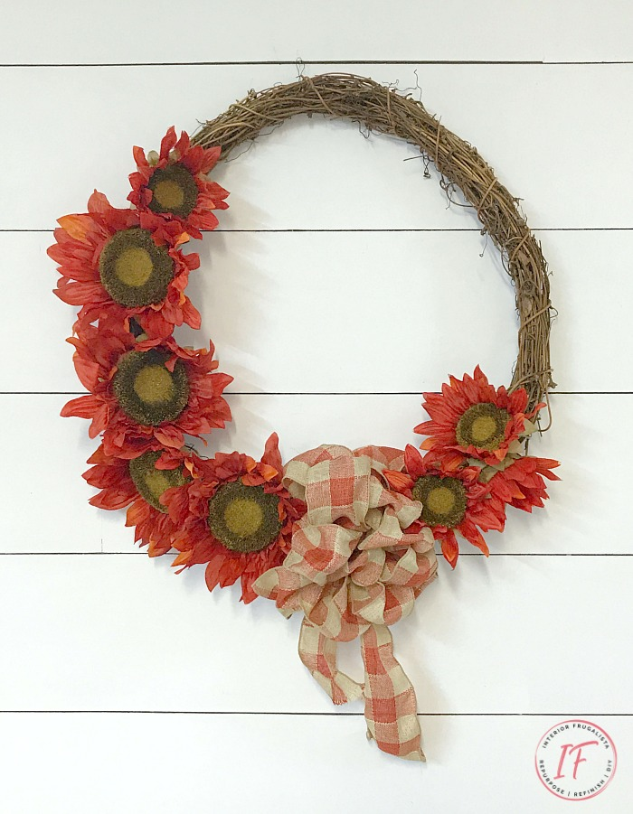 DIY Fall Wreath With Orange Sunflowers