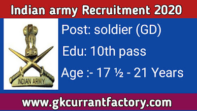 Indian army Recruitment, Indian Army Soldier Recruitment, Indian Army Jobs