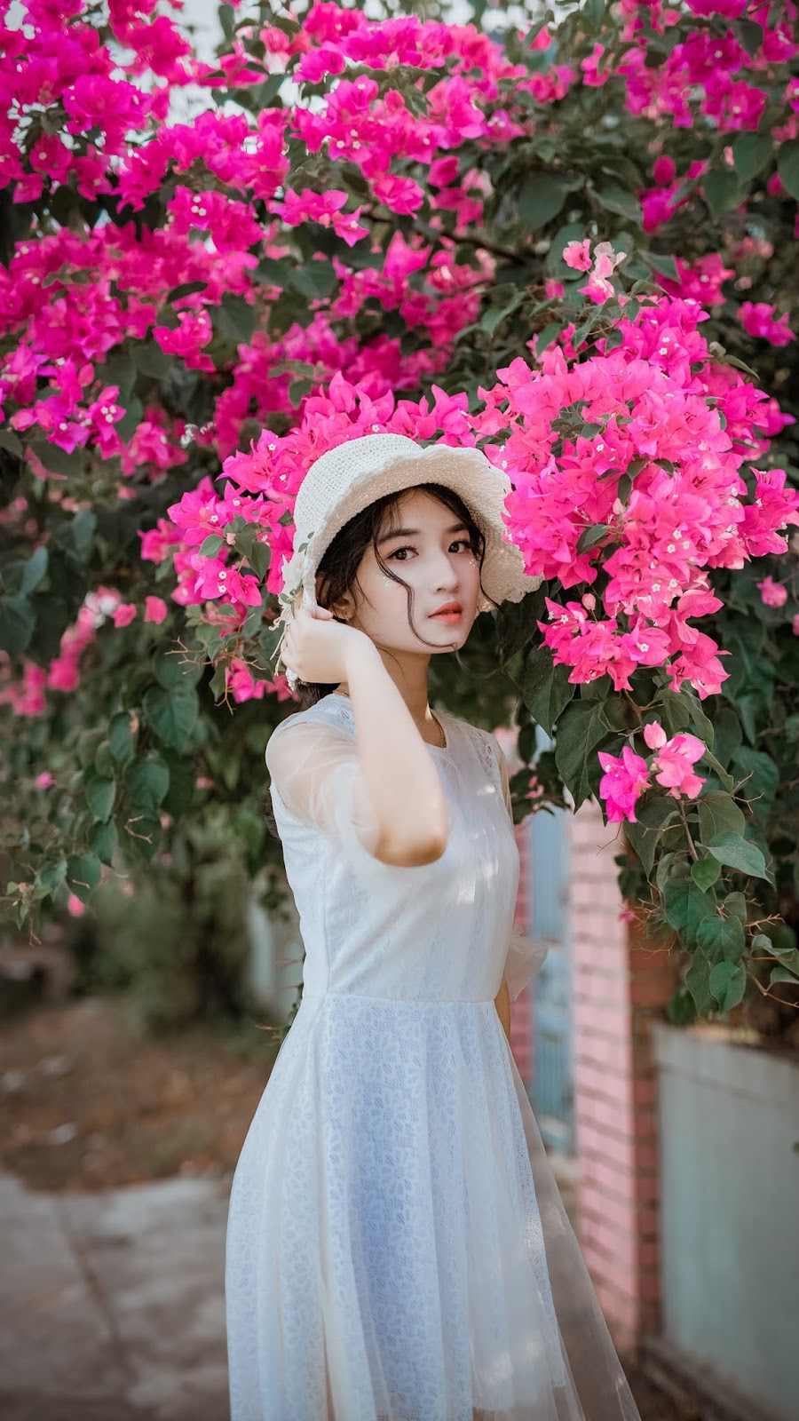 aesthetic .. women in pink flower