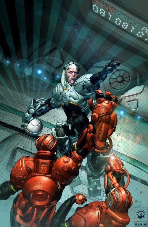 Fabio Listrani artstation deviantart arte ilustrações ficção científica cyberpunk robôs