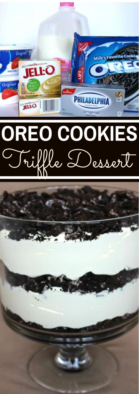 Oreo Cookie Trifle #easy #dessert #nobake #party #pudding
