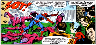 Amazing Spider-Man #54, john romita, in aunt may's back garden, spider-man fights doctor octopus's goons, as a crowd watch him go
