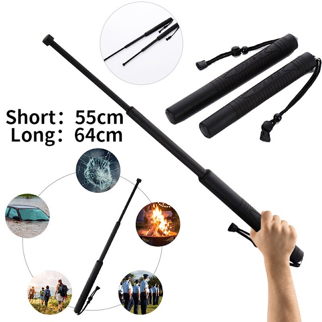 Retractable Self-protection Stick Sports Three Telescopic Stick Outdoor Climbing Stick