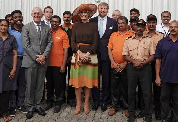Queen Maxima wore Jan Taminiau short dress. Queen Maxima wore a pattern print silk dress by Jan Taminiau in India