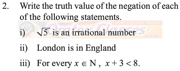 Write the truth value of the negation of the following statement.
