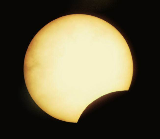 3:16 PM view of the partial solar eclipse.