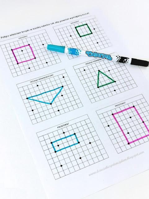 zdjęcie przedstawia arkusz A4 w kratkę z sześcioma polami, na każdym z nich narysowane jest po kilka kropek, niektóre kropki są połączone, tworząc wskazane w zadaniu figury geometryczne