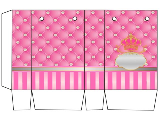 Cajas de Corona Dorada en Fondo Rosa con Brillantes para imprimir gratis.