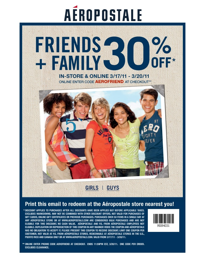 Aeropostale's free shipping coupon code is usually valid with no minimum purchase. They sometimes offer a promo code valid for free shipping with the purchase a select item, such as free shipping on your entire order with a footwear purchase.