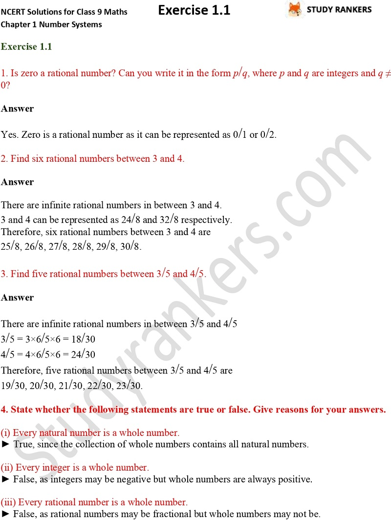NCERT Solutions for Class 9 Maths Chapter 1 Number Systems Exercise 1.1
