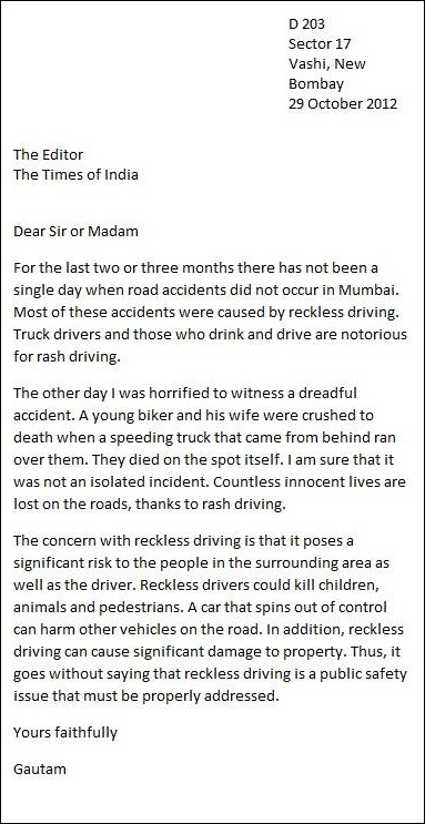 write a short letter to the editor of a newspaper on reckless driving