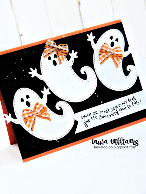 """A handmade Halloween card with three die-cut ghosts, wearing """"hair bows"""" or bow ties, made from orange gingham ribbon. The stamped sentiment says """"Trick or treat, smell my feet, give me something good to eat."""" The stamps and dies are from Impression Obsession."""
