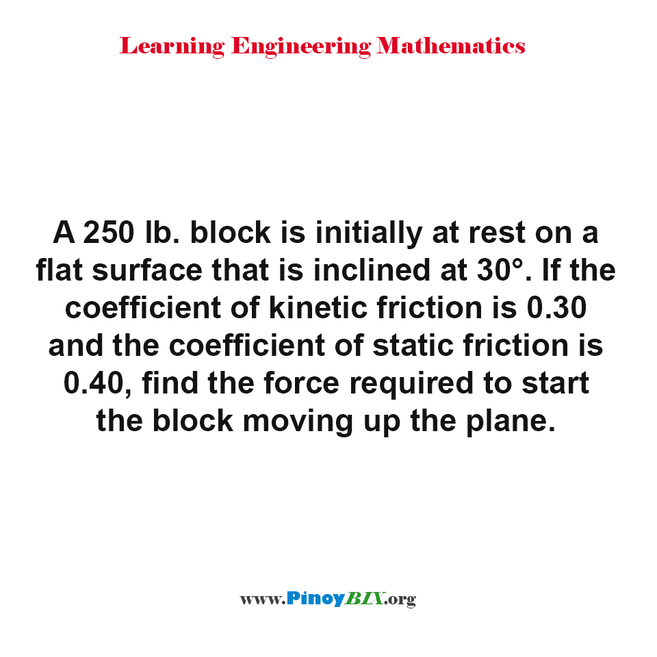 Find the force required to start the block moving up the plane