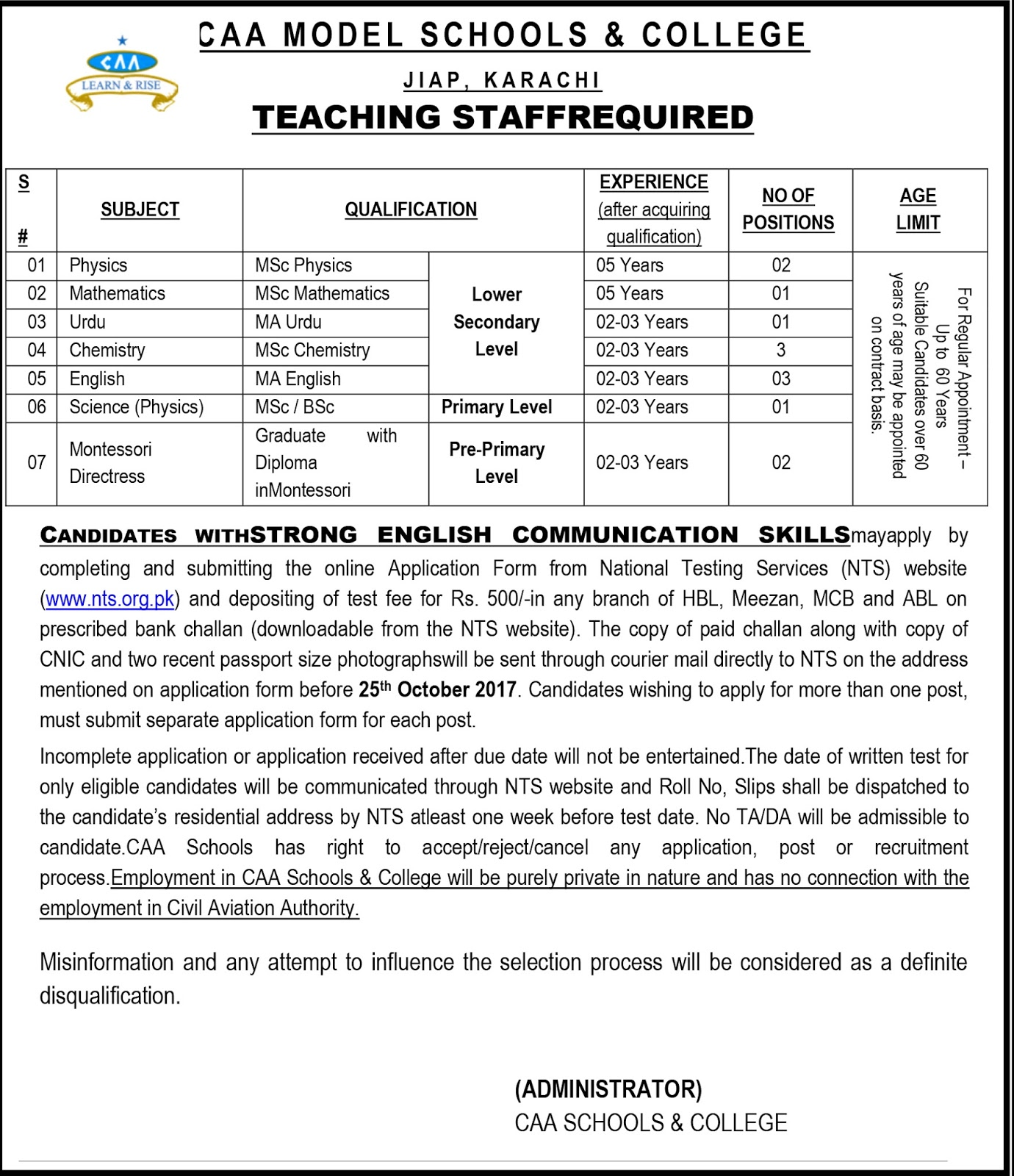 Teaching Staff Required  in CAA Model Schools And College Karachi Oct 2017