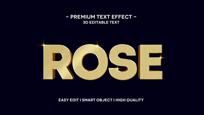 Rose 3D Text Effect Template MockUp