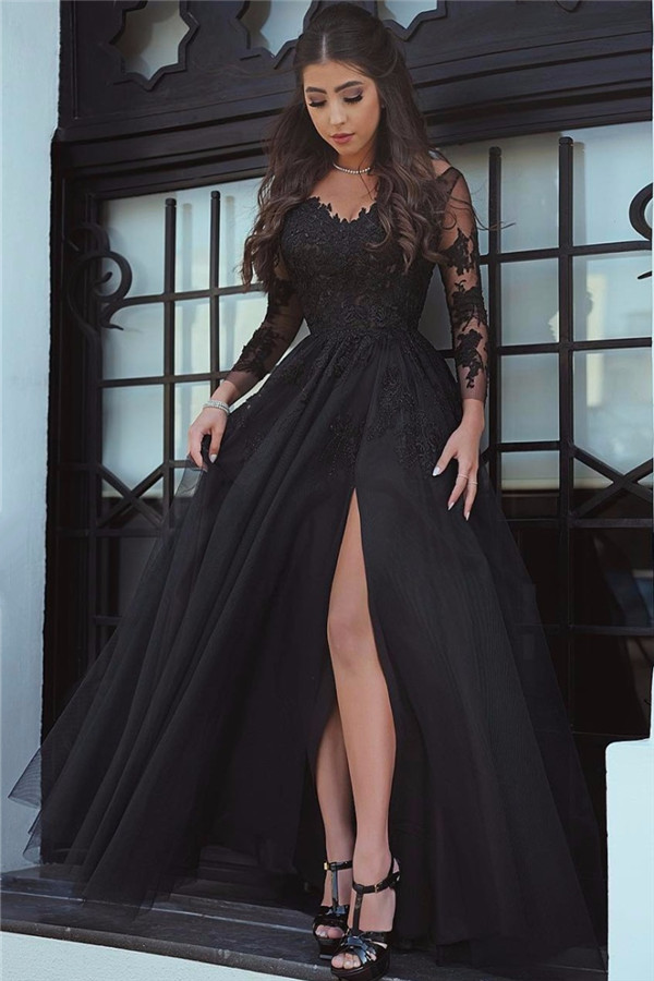 Long-Sleeve Lace Black Glamorous Slit Evening Dress