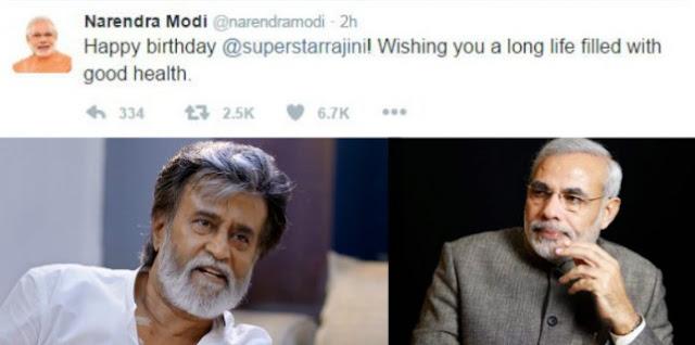 நடிகர் ரஜினிகாந்துக்கு பிரதமர் மோடி பிறந்த நாள் வாழ்த்து
