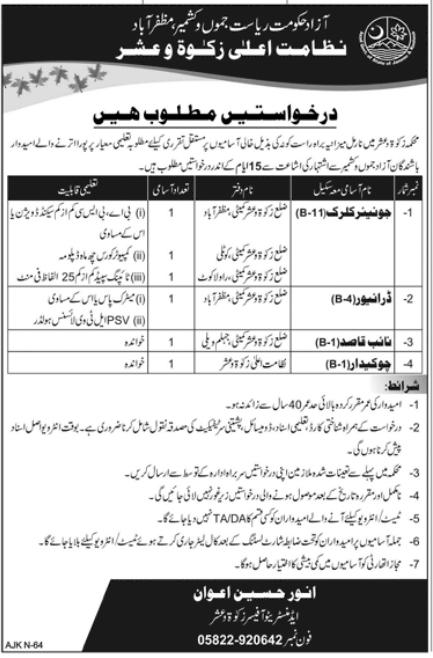 Advertisement for Zakat and Ushr Department Jobs