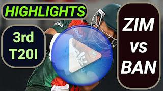 ZIM vs BAN 3rd T20I 2021