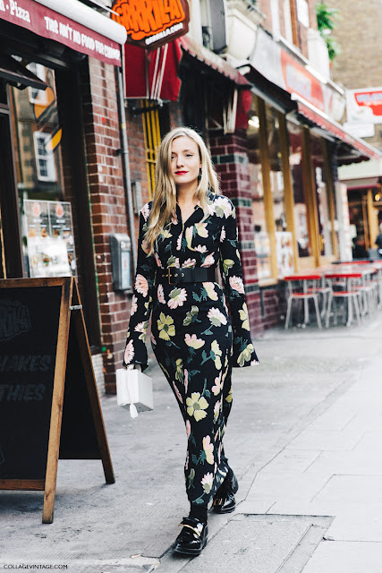 London Fashion Week Spring-Summer 2016 Street Style - Floral Dress + Marni Loafers