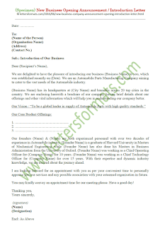sample announcement letter of new business