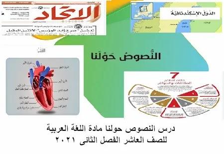 درس النصوص حولنا مادة اللغة العربية للصف العاشر الفصل الثانى 2021