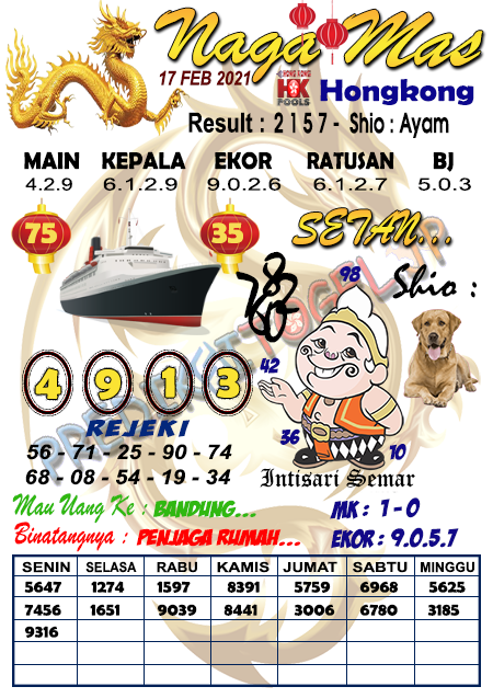 Syair Nagamas HK Rabu 17 Februari 2021