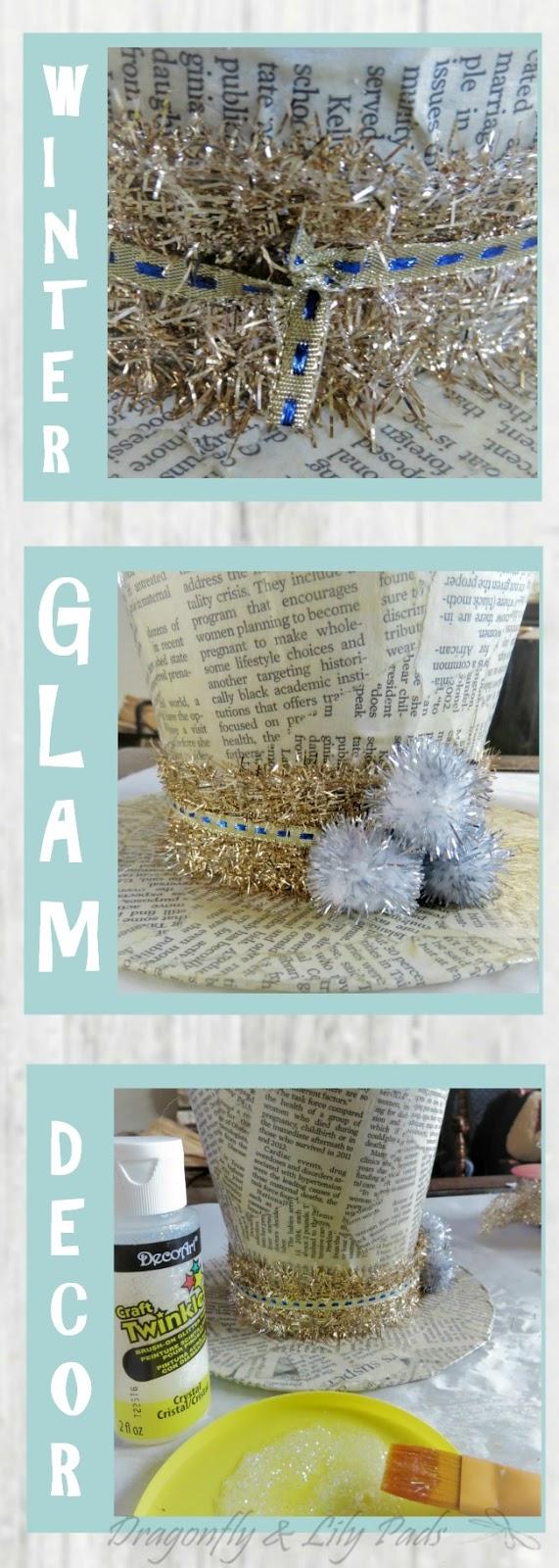 DIY Winter Glam Decor Tutorial last three steps after letting it dry overnight.
