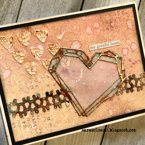Sara Emily Barker https://sarascloset1.blogspot.com/ Tim Holtz Sizzix Geo Frames Crochet 2 Valentine Card Set Tutorial 6
