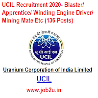 UCIL Recruitment 2020- Blaster/ Apprentice/ Winding Engine Driver/ Mining Mate Etc (136 Posts)